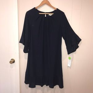 NWT London Style Navy Dress w/Flare Sleeve Size 14